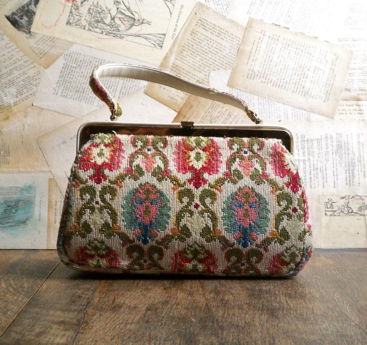 colorful  fabric covered handbag