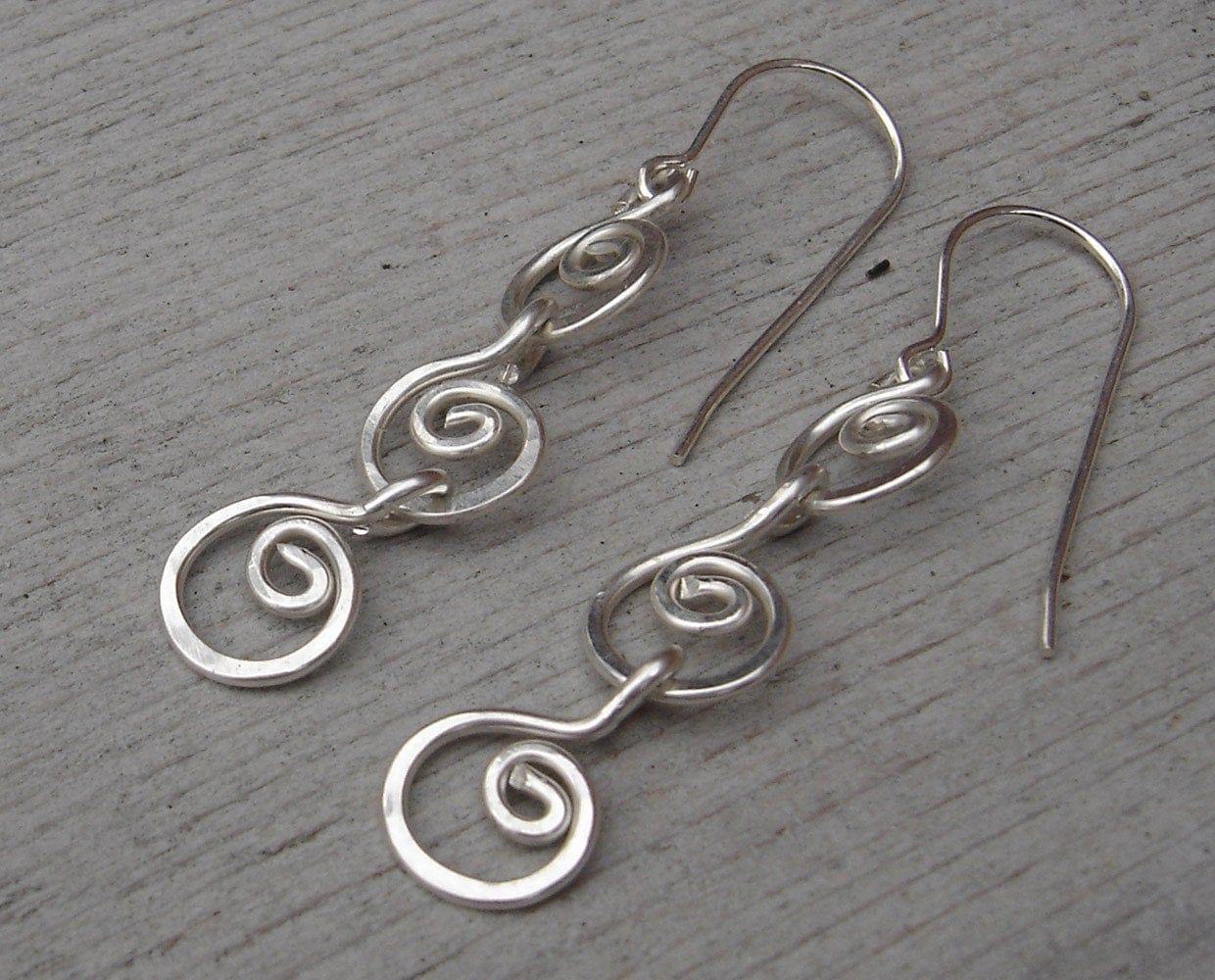 Three Little Swirls All in a Row Sterling Silver Earrings