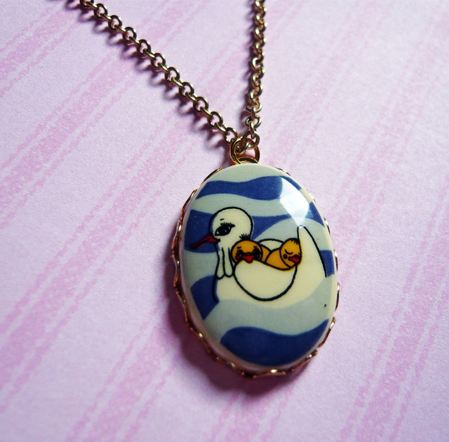 Vintage Mom and Baby Seagull Cameo Necklace by MaruMaru on Etsy from etsy.com