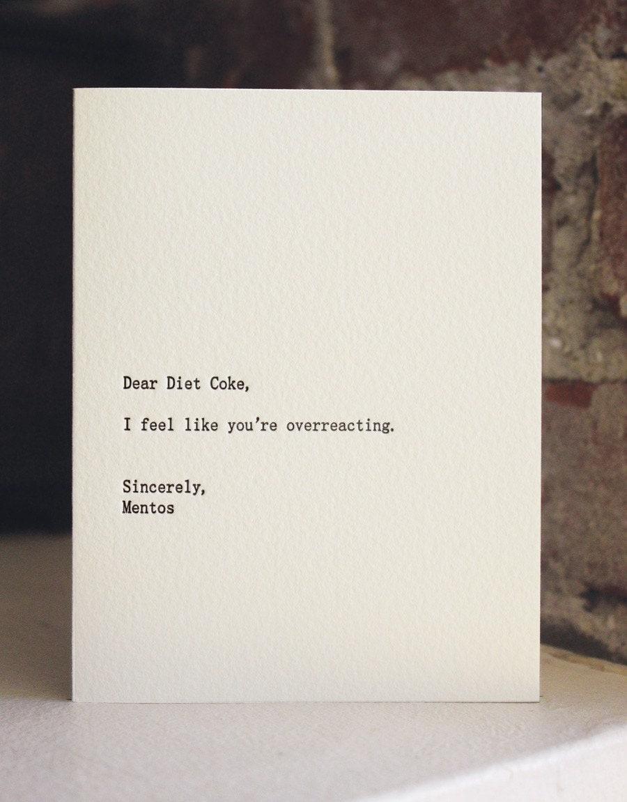 dear diet coke. letterpress card