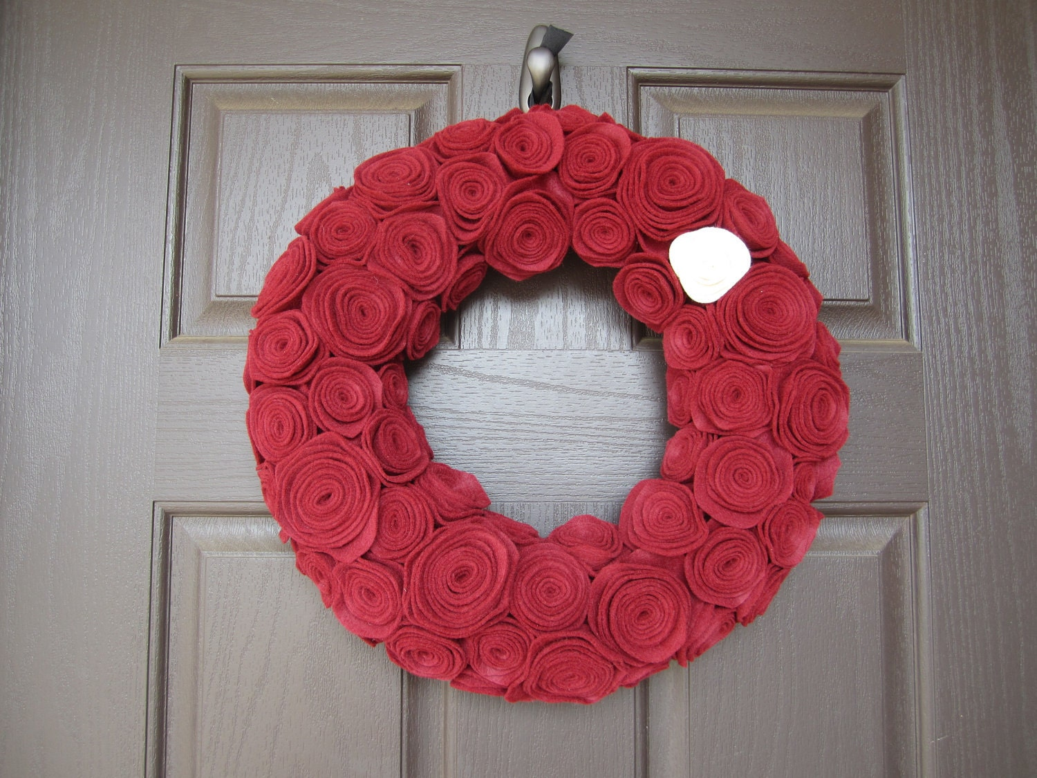 Red Felt Rosette Wreath