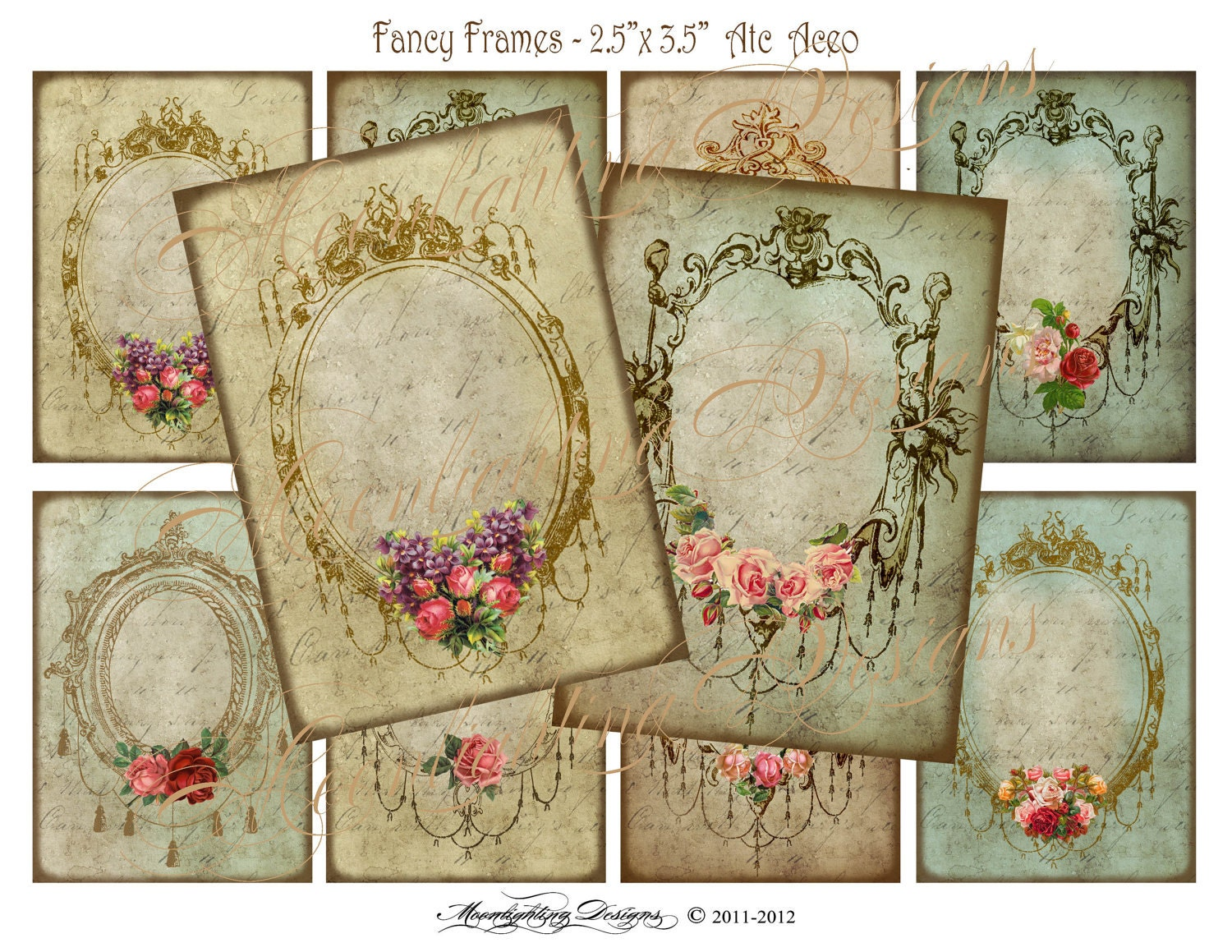 VICTORIAN FANCY FRAMES Gift Tags Digital by MoonlightingandCo