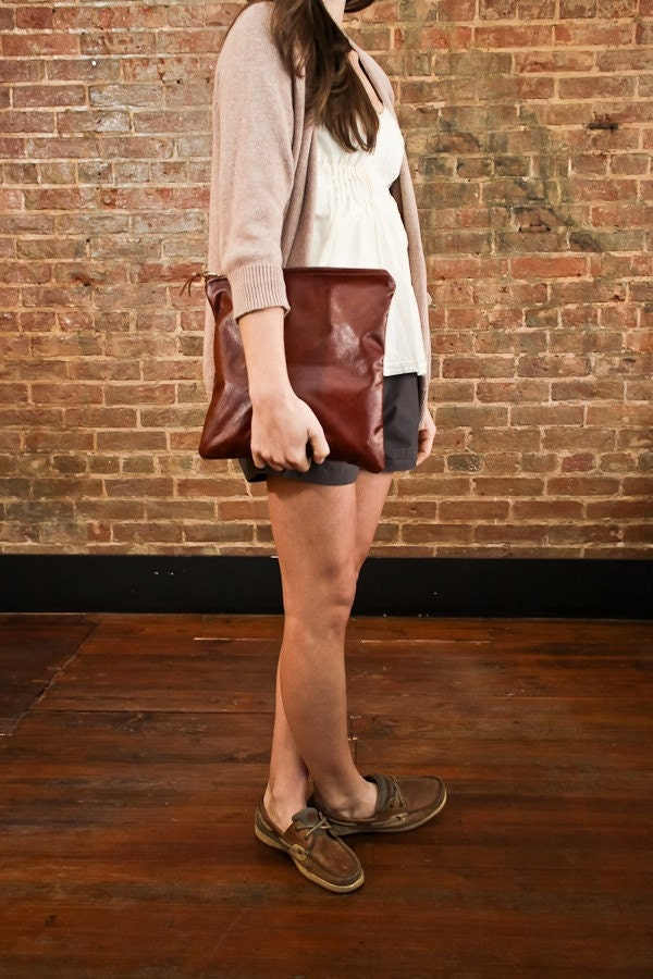 Large Pony Leather Clutch