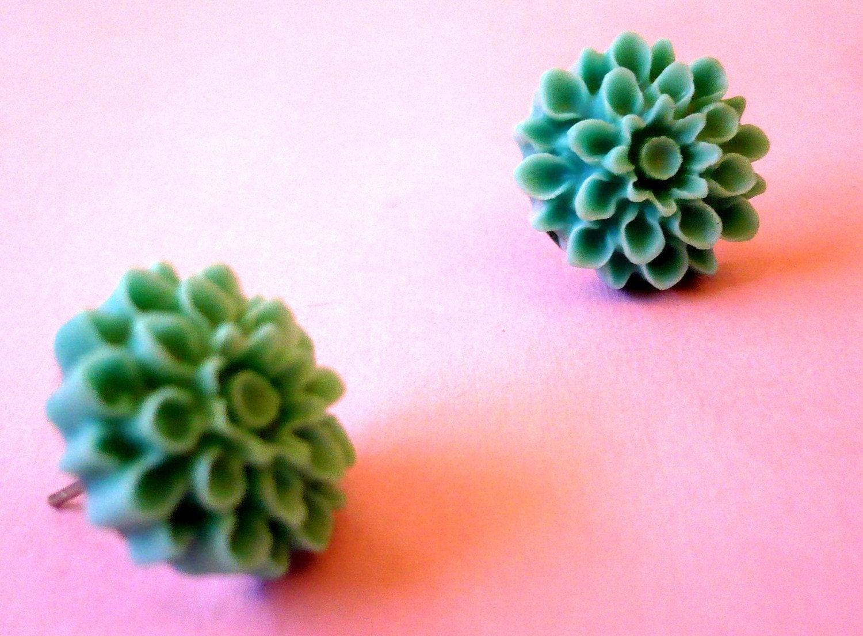 Light blue/teal Flower Post Earrings