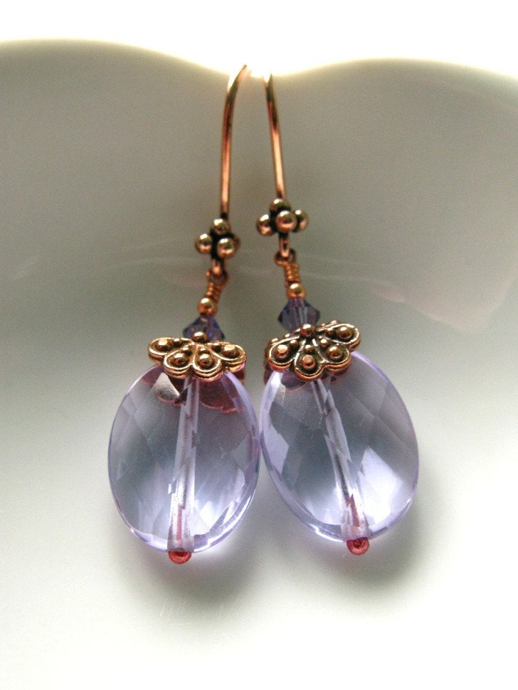 Oasis, lavender glass, crystal and copper earrings