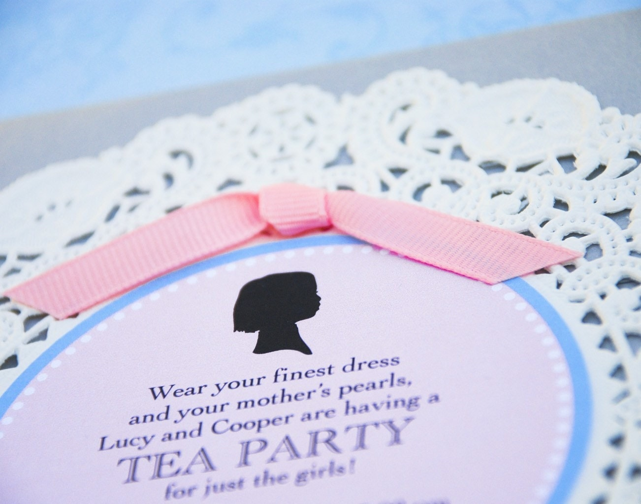 Deposit - Silhouette and Doily Tea Party Invitation