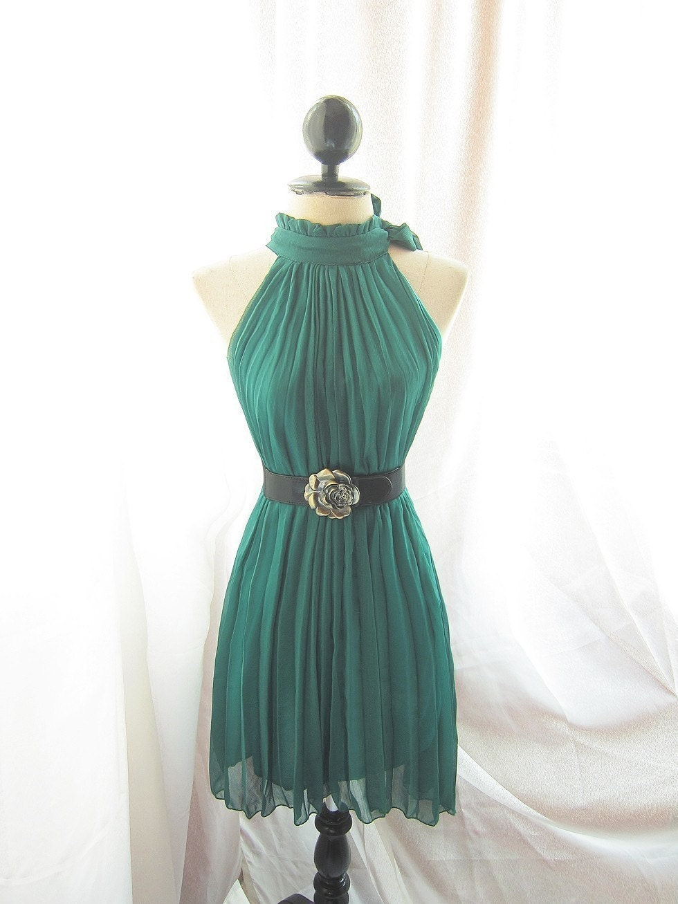 Classic Forest Green Havisham Romantic Fall Chiffon Secret Garden Twilight Dress