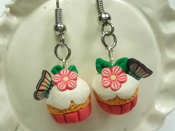 Summer butterflies and flowers pink polymer clay cupcake earrings