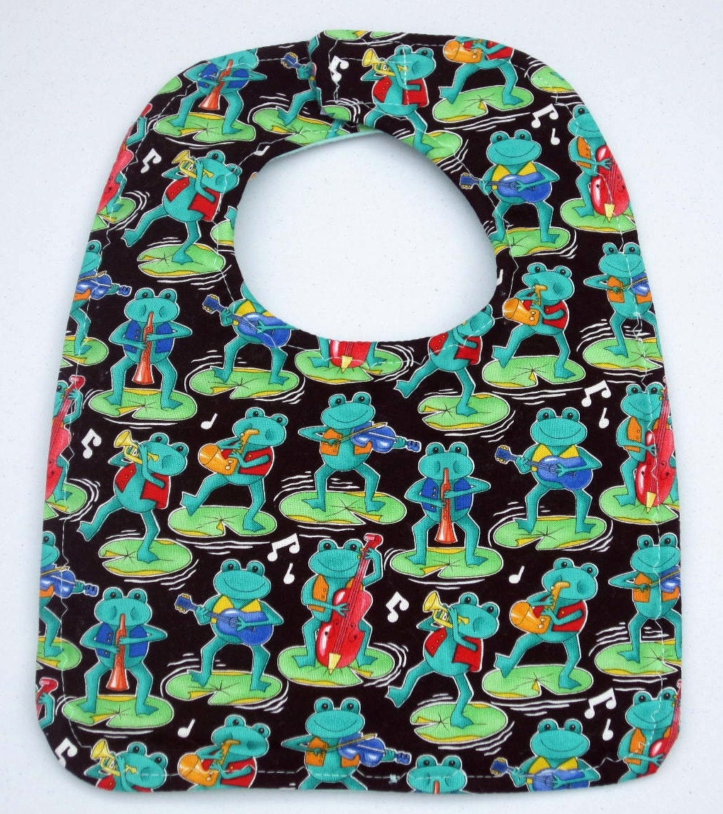 Musical Frogs Baby Bib for the loveformalaciababies -  Handmade By Sewinggranny