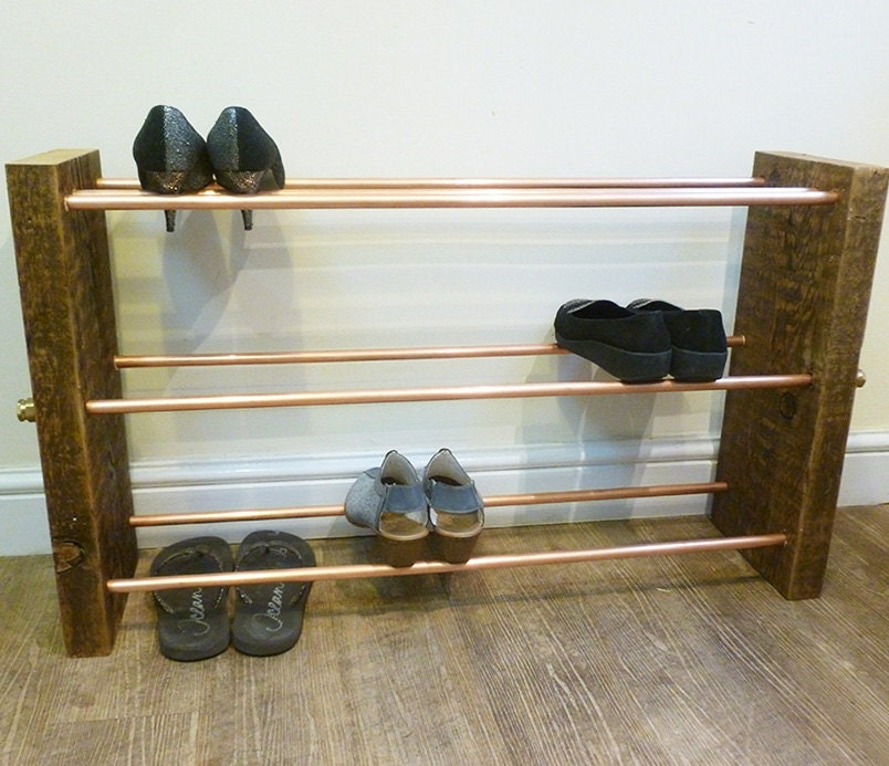 Large 3 Tier Copper Pipe Shoe Rack from Reclaimed Wood  Shoe storage Industrial design