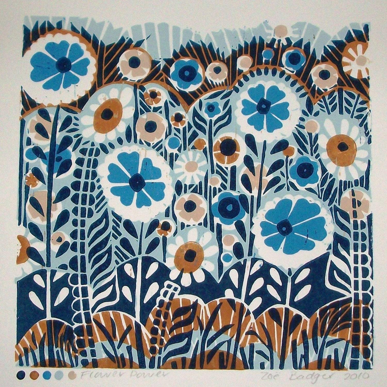 Flower Power Linocut print (ref 067)
