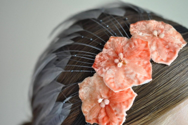 Feathered Headband--Grey/Peach