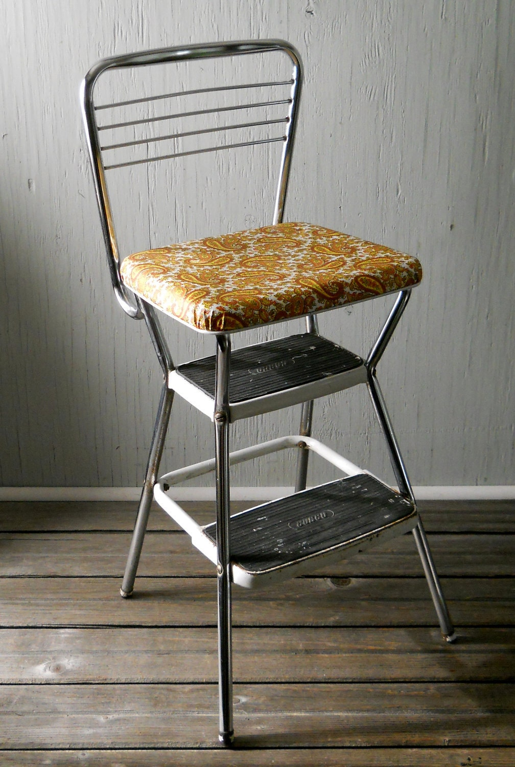 Vintage Cosco Step Stool Chrome And Paisley By
