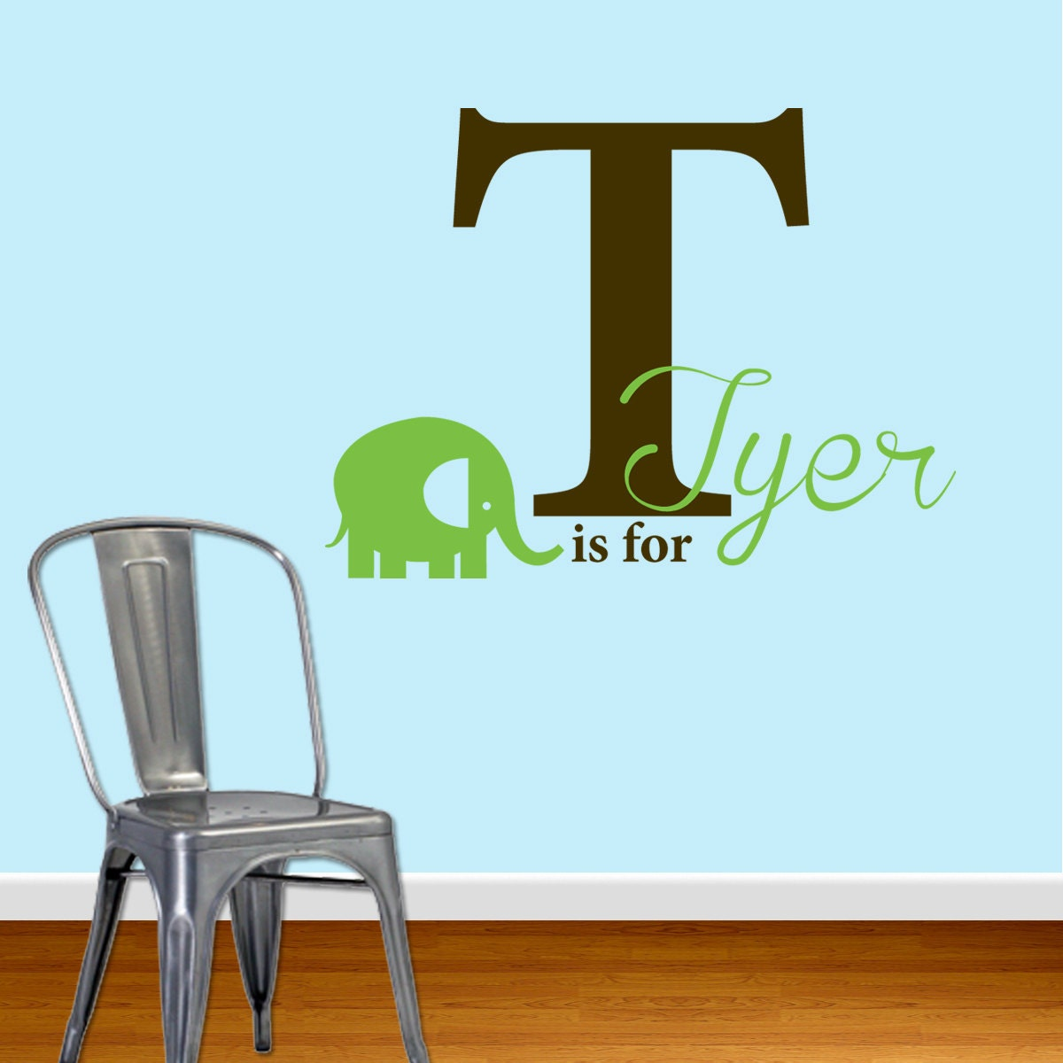 Wall Decal - Name Letter and Elephant