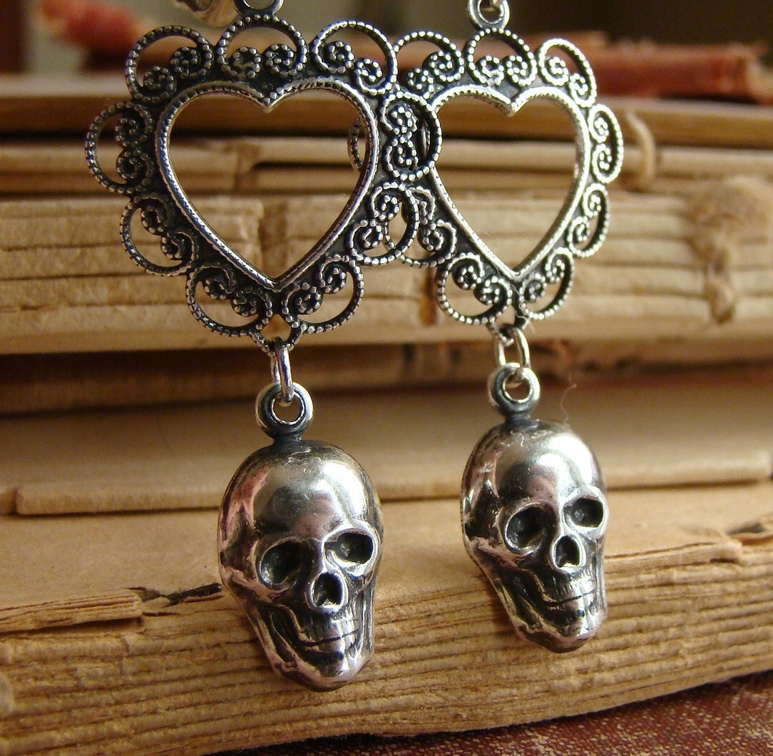 Bella Mort - Bones Collection - Lovely Death Silver Art Nouveau Neo Victorian Dangle Earrings in Silver