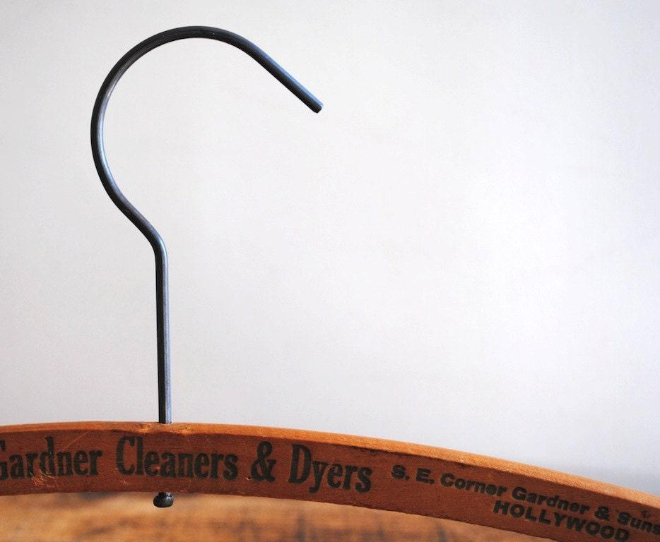 Vintage Wooden Dry Cleaners Hanger - Vintage Advertising - labiblioteca
