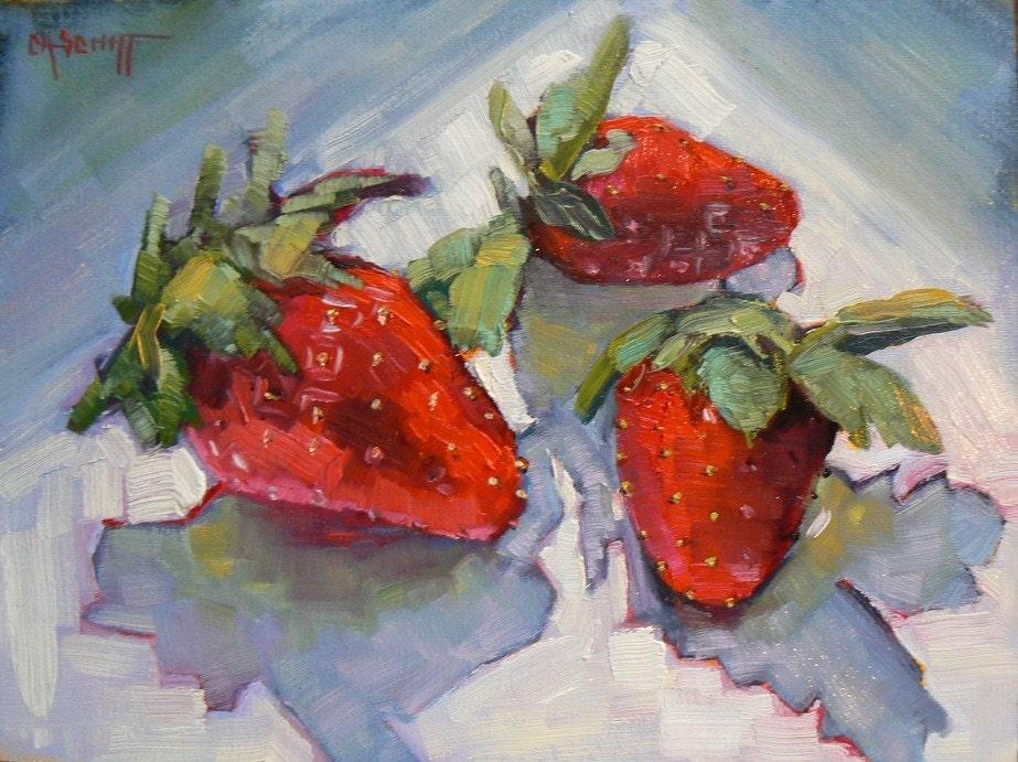 Strawberries and Shadows, 6x8, Original Oil, CarolSchiffStudio on Etsy