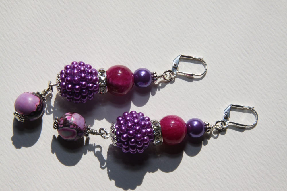 "3"" 1/4 L Purple Berry bead, Raspberry color jade stone,  Purple turquoise stone, dangle earrings"
