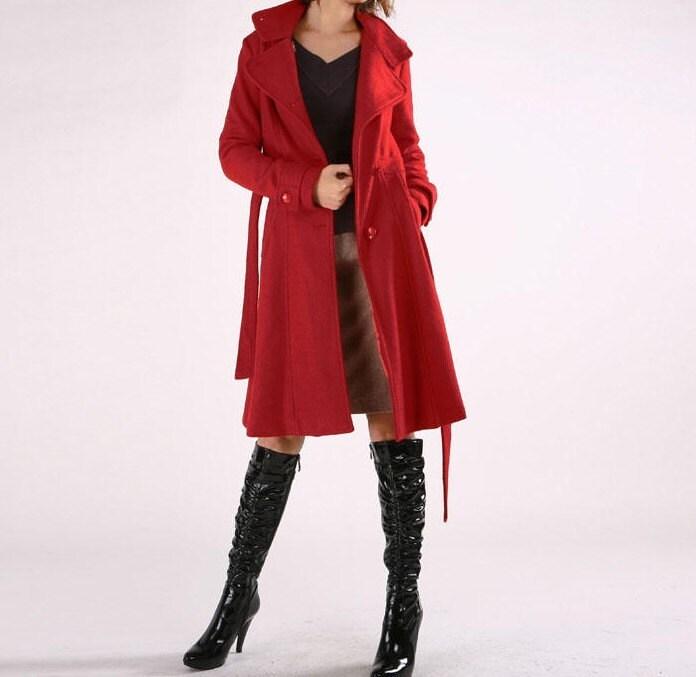 ایستاده یقه کت پشمی بلند