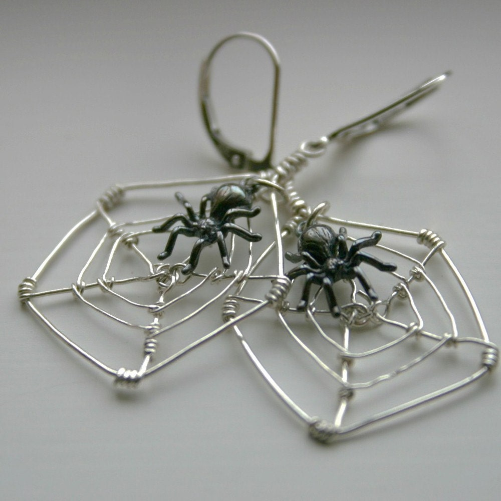 Handcrafted Black Widow Sterling Silver Earrings