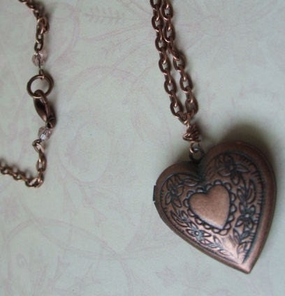 Antique Copper Heart Locket Necklace