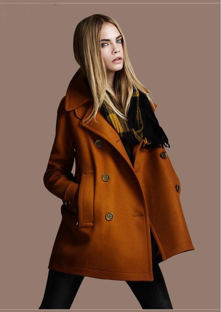 Autumn Woman Wool Coat Jacket in Brown and Black - ELFSACK