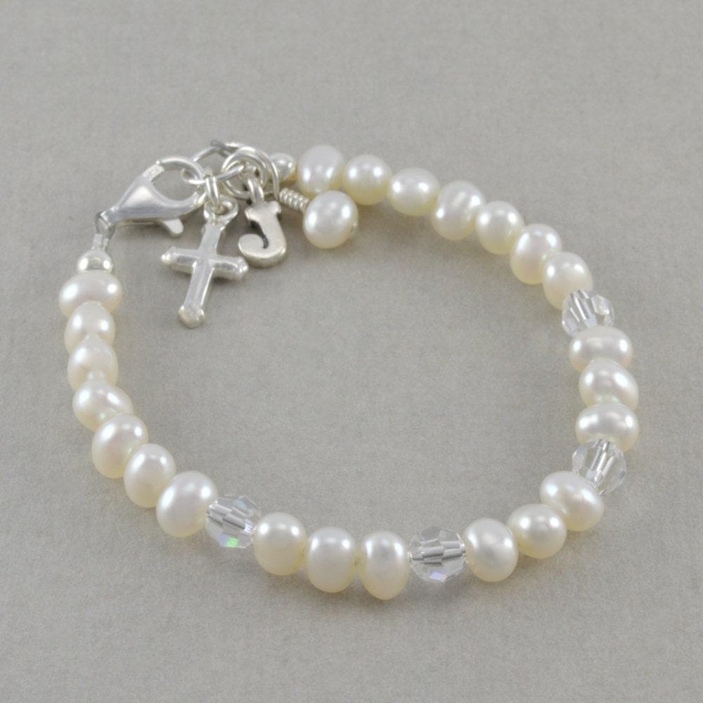 White Pearl Baby Bracelet Baptism Bracelet By