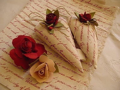 rose petals and love letters - scented hearts