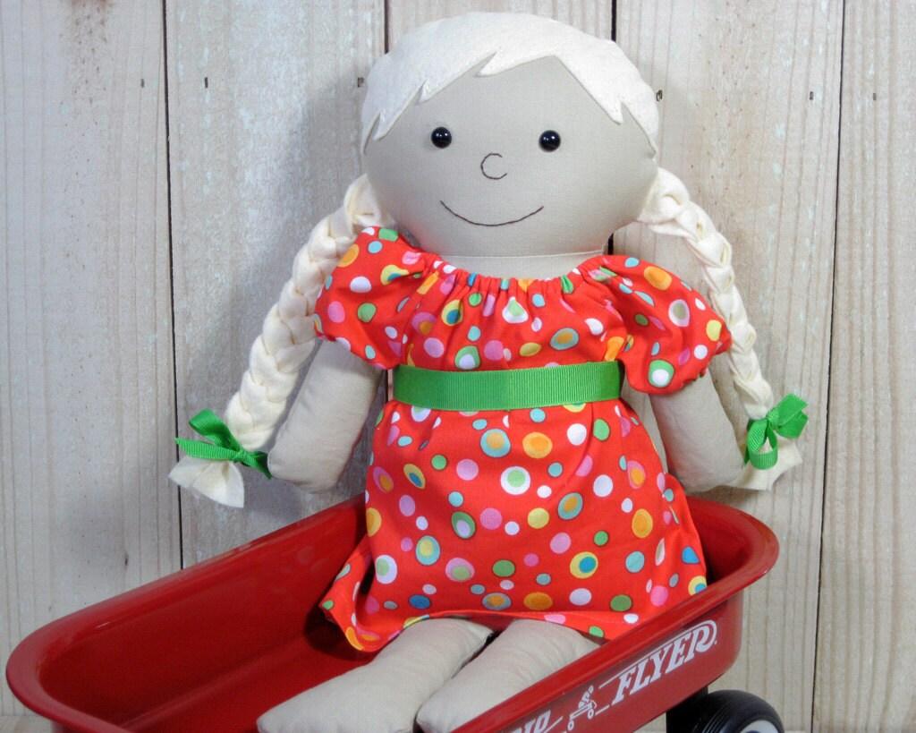 "16"" Rag Doll with Blonde Braids, Dress Up Doll - FiddledeeDeeCraft"
