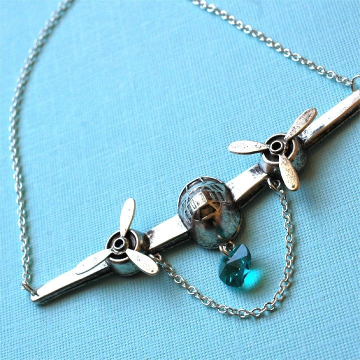 Handmade Jewelry on Etsy - Silver Love Cargo - silverplated brass airplane necklace with chain by bombalurina from etsy.com