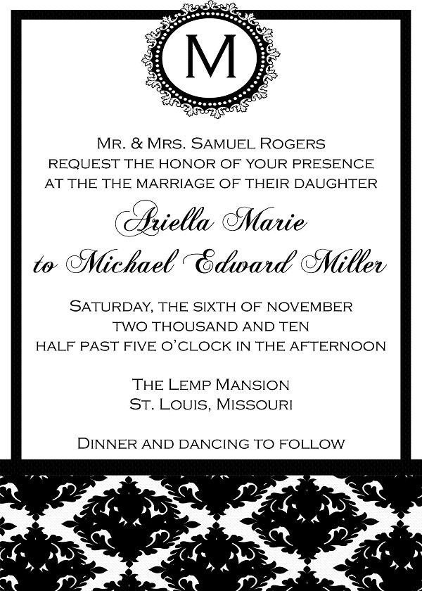 printable black and white wedding invitation