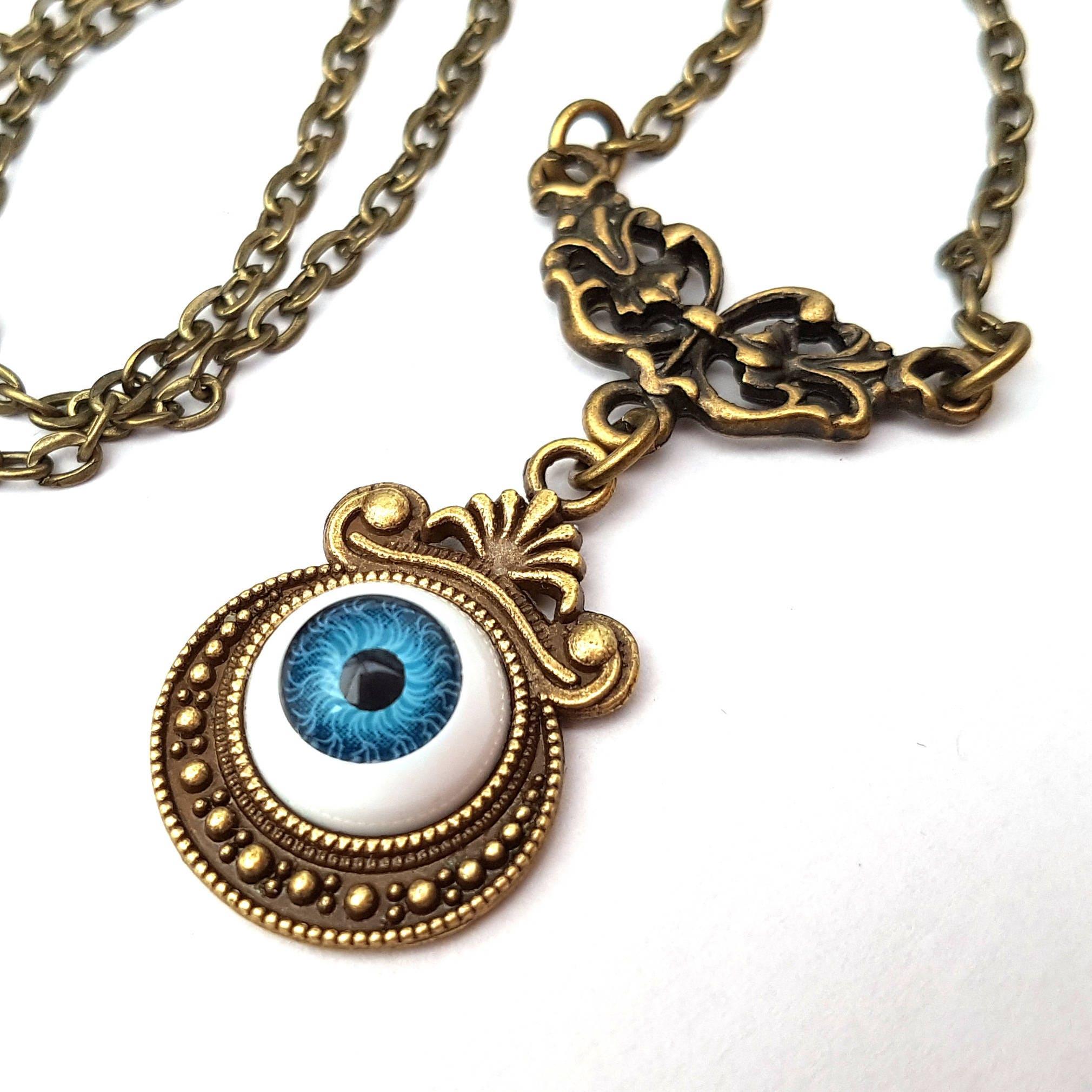 Ive Got My Eye On You Blue Eye Necklace Spooky Evil Eye Eyeball Necklace Antique Bronze