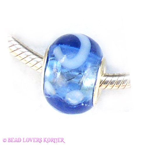 Blue White Glass Charm by Bead Lovers Korner on Upcycle Fever