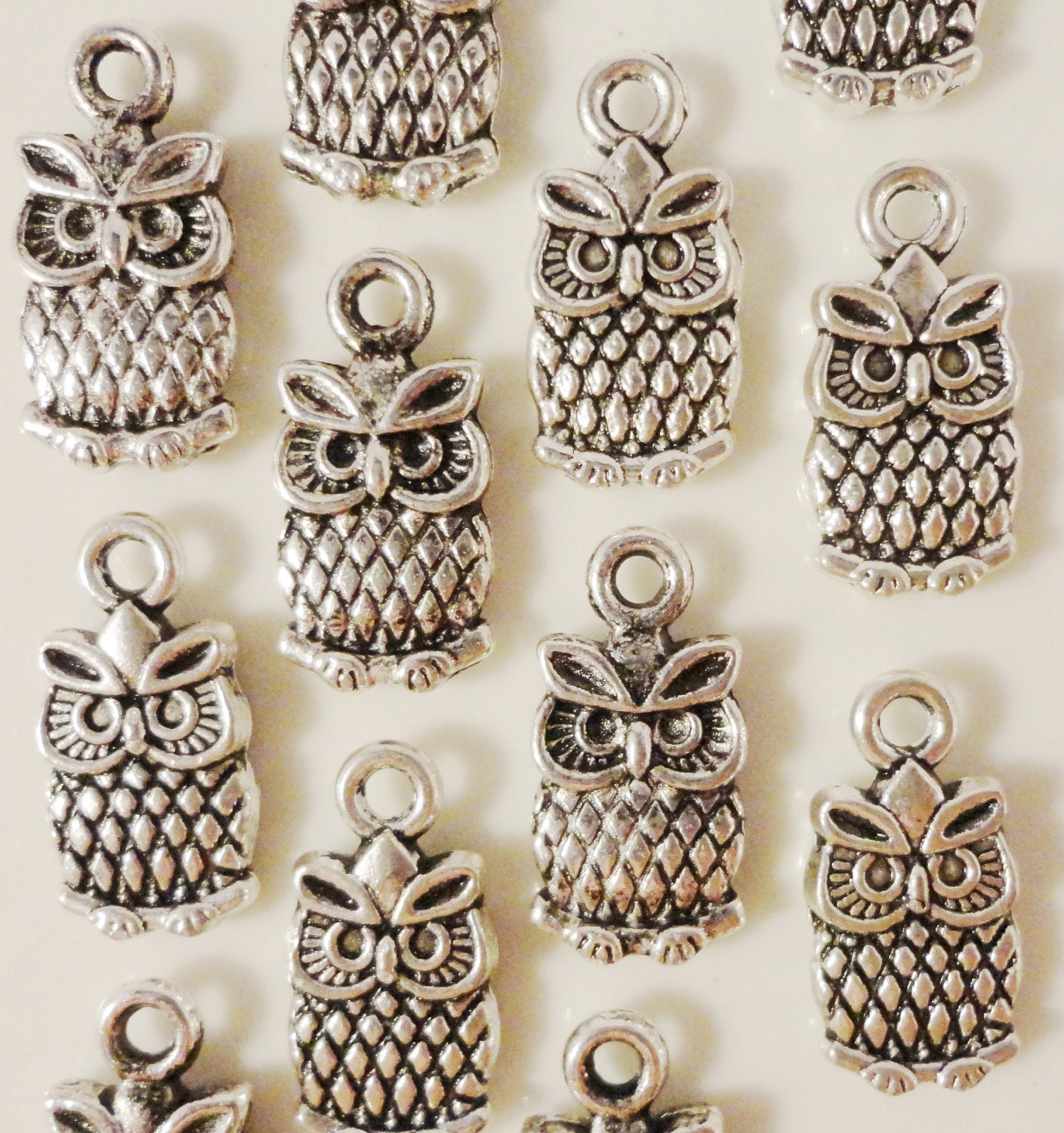 Silver Owl Charms 15x7mm Antique Silver Tone Metal Small Owl Bird Charm Pendant Jewelry Findings 12pcs - BusyBeeBeadSupplies
