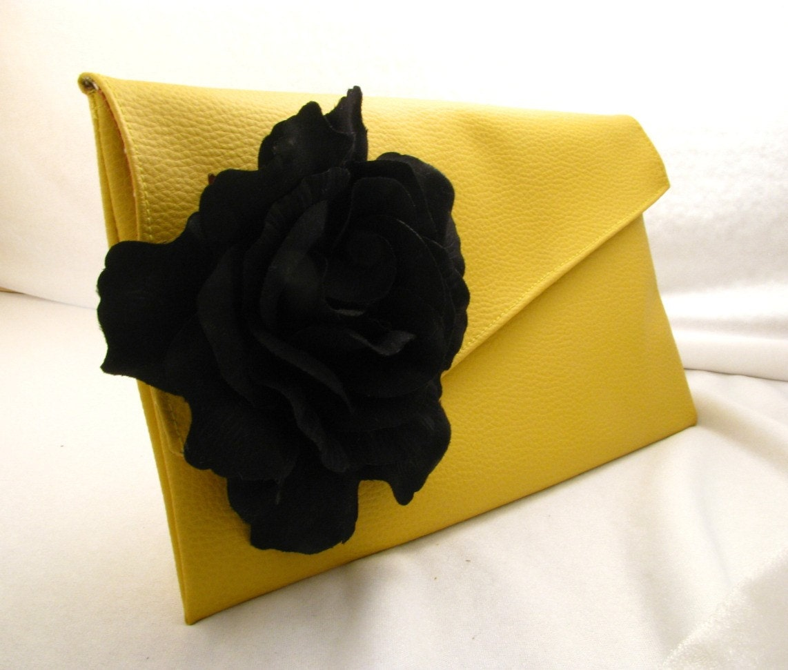 Black rose elegant yellow leather clutch