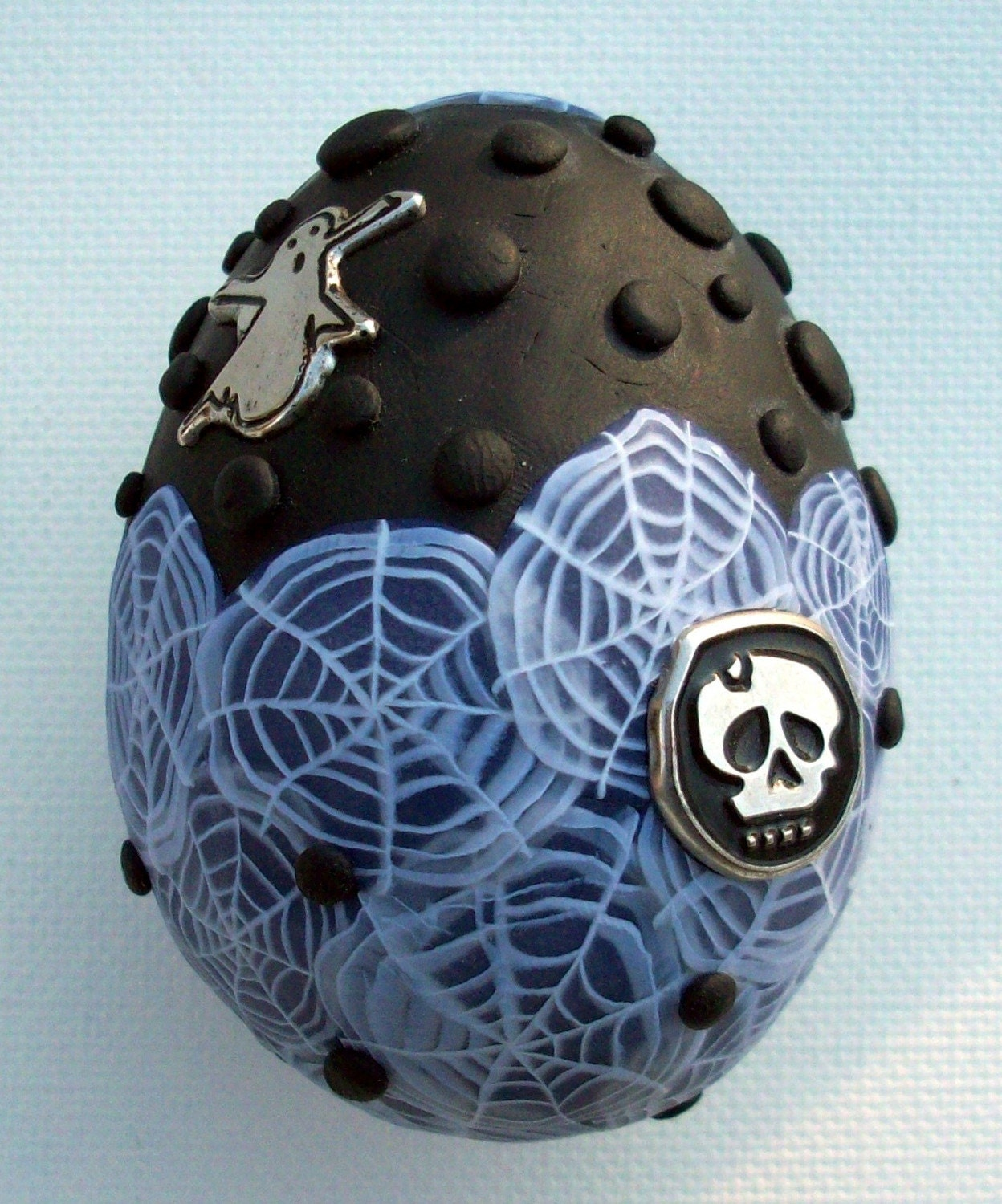 Cobwebs and Ghosts Polymer clay Egg Ornament