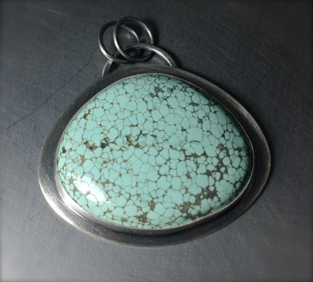 Turquoise Pendant, Sterling Silver Necklace, Statement Piece - LivelyHood