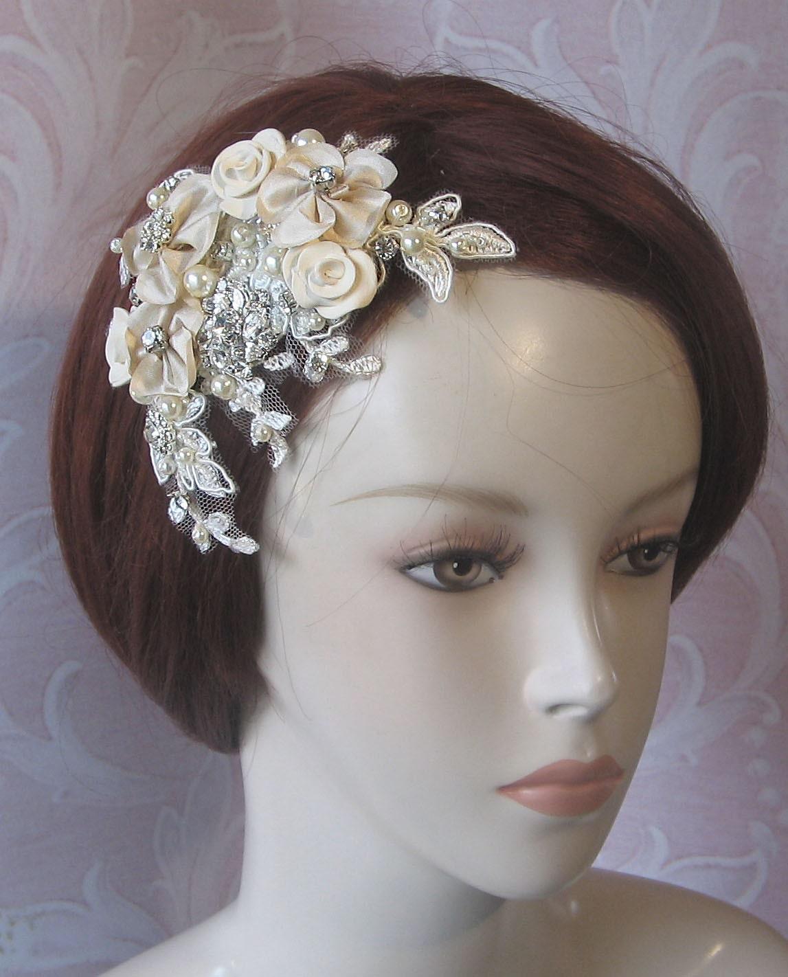 Champagne Fascinator, Bridal Fascinator, Hair Flowers with Rhinestones and Pearls - INGENUE