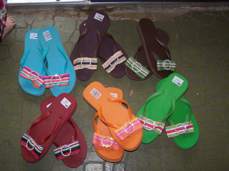 Monogrammed Women and Children Flip Flops-