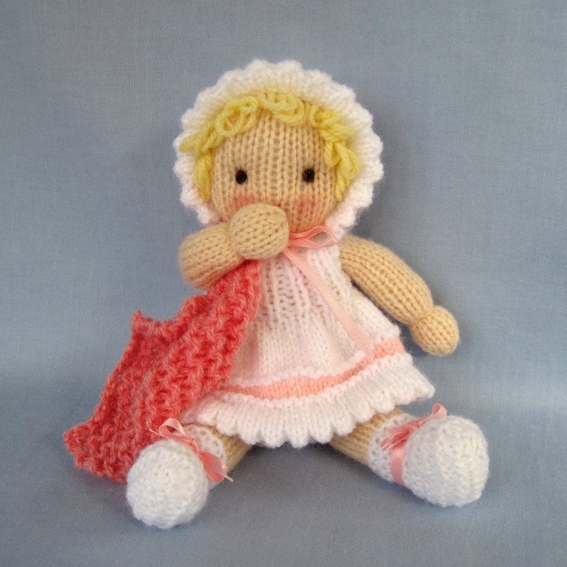 Free Knitting Patterns For Beginners Toys : LITTLE DAISY knitted toy baby doll PDF email by dollytime