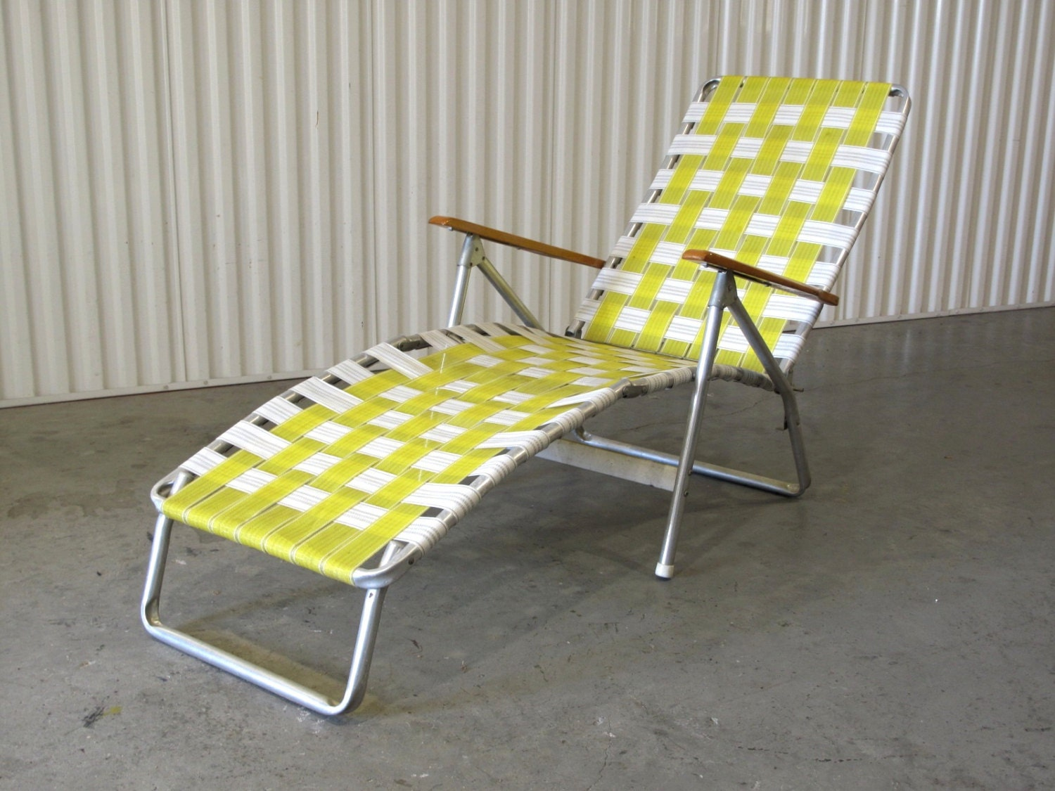 1960 s Webbed Lawn Chair Folding Beach Chair Lounge by CathodeBlue