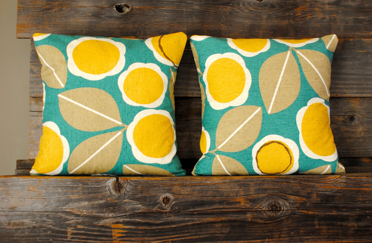 Teal yellow and brown decorative pillow by kangaroostitches