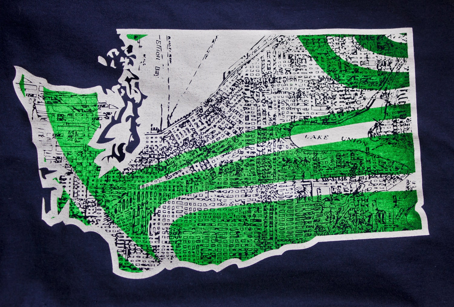 Seattle seahawks seattle map tshirt awesome vintage by for Seattle t shirt printing