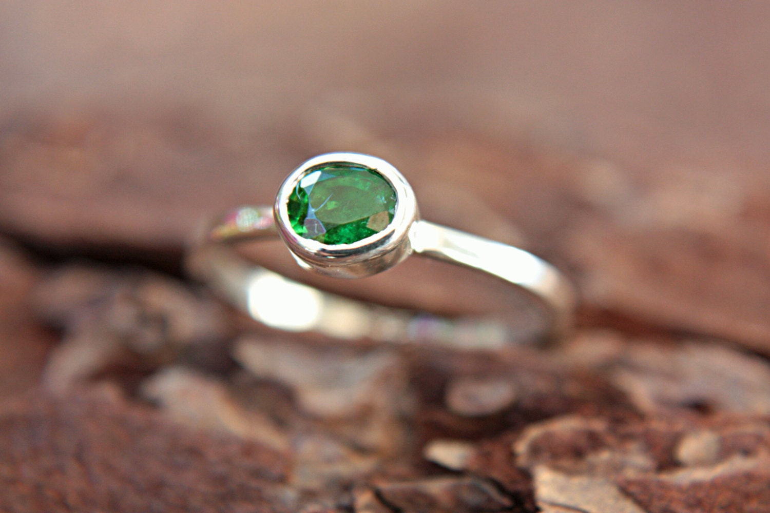 Green Tsavorite Garnet Ring Sterling Silver Natural Garnet Gemstone Engagement Ring Size 6,5 Silversmithed Metalsmithed - ManariDesign