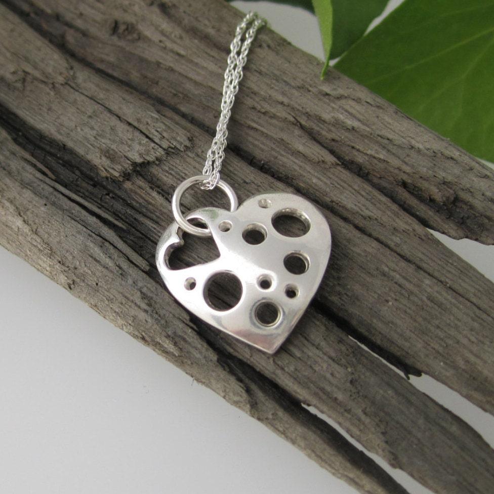 Handmade Holey Heart Pendant in Fine Silver  Fine Silver Heart Shape Necklace  Solid Silver Heart Pendant  Small Heart Pendant