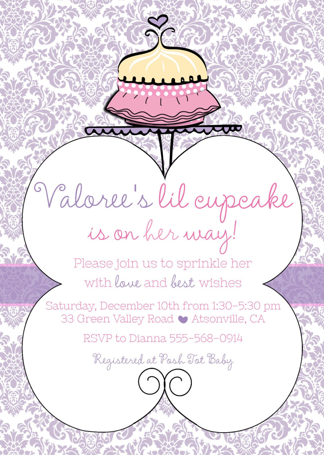 tutu cute cupcake baby shower invite 20 printed 5 by 7 invites with