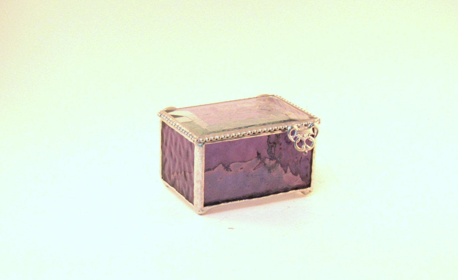 "Amethyst Purple Stained Glass Jewelry Box, Keepsake Box, 2 x 3"", Clear Bevel Lid, Bridesmaid Gift, Mother's Day Gift, Maid of Honor Gift - shopworksofglass"