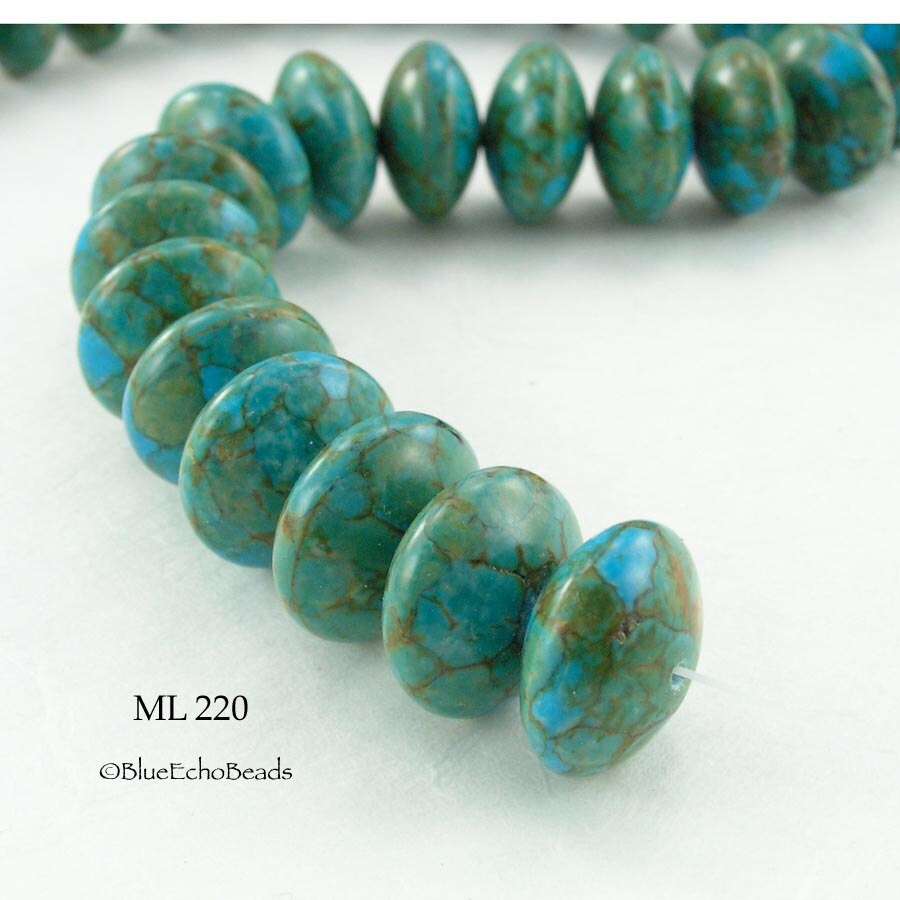 Mosaic Turquoise Bead Abacus Large Rondelle 18mm By
