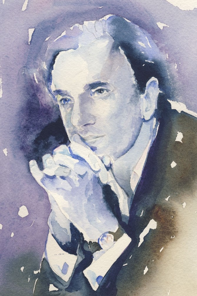 Watercolor Fashion Illustration - Nine - Daniel Day Lewis