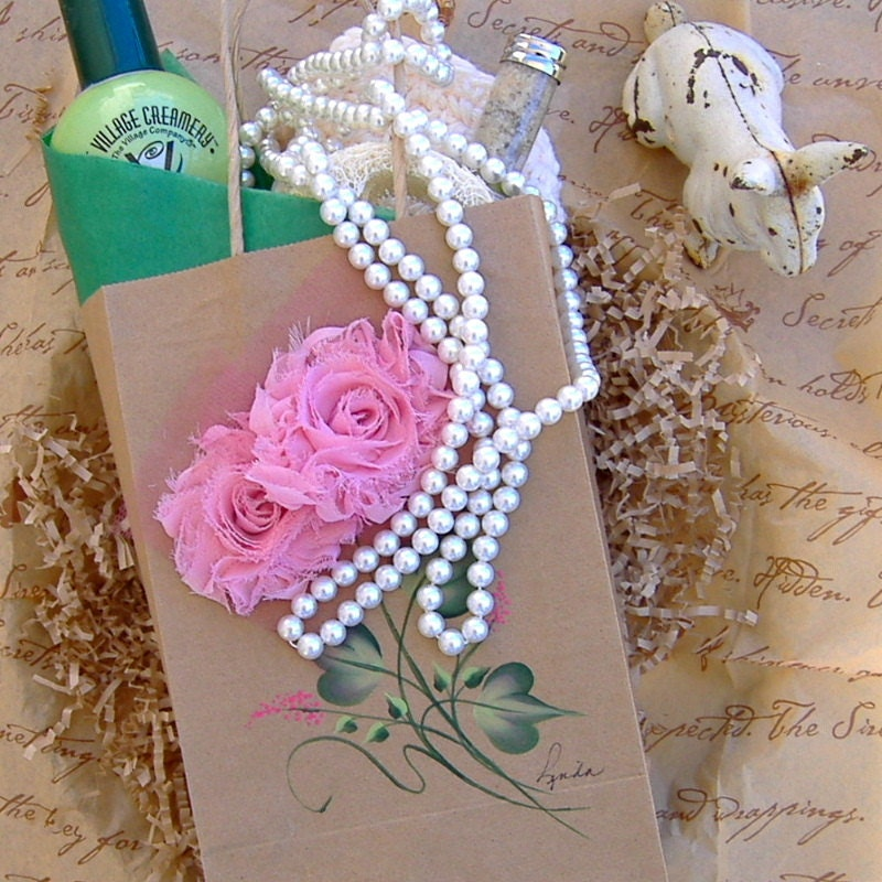 Kraft Paper Gift Bag with Pink Fabric Roses and Handpainted Stems and Leaves, Medium Size